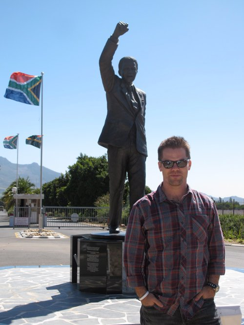 Adam outside Drakenstein Prison in the Western Cape, South Africa