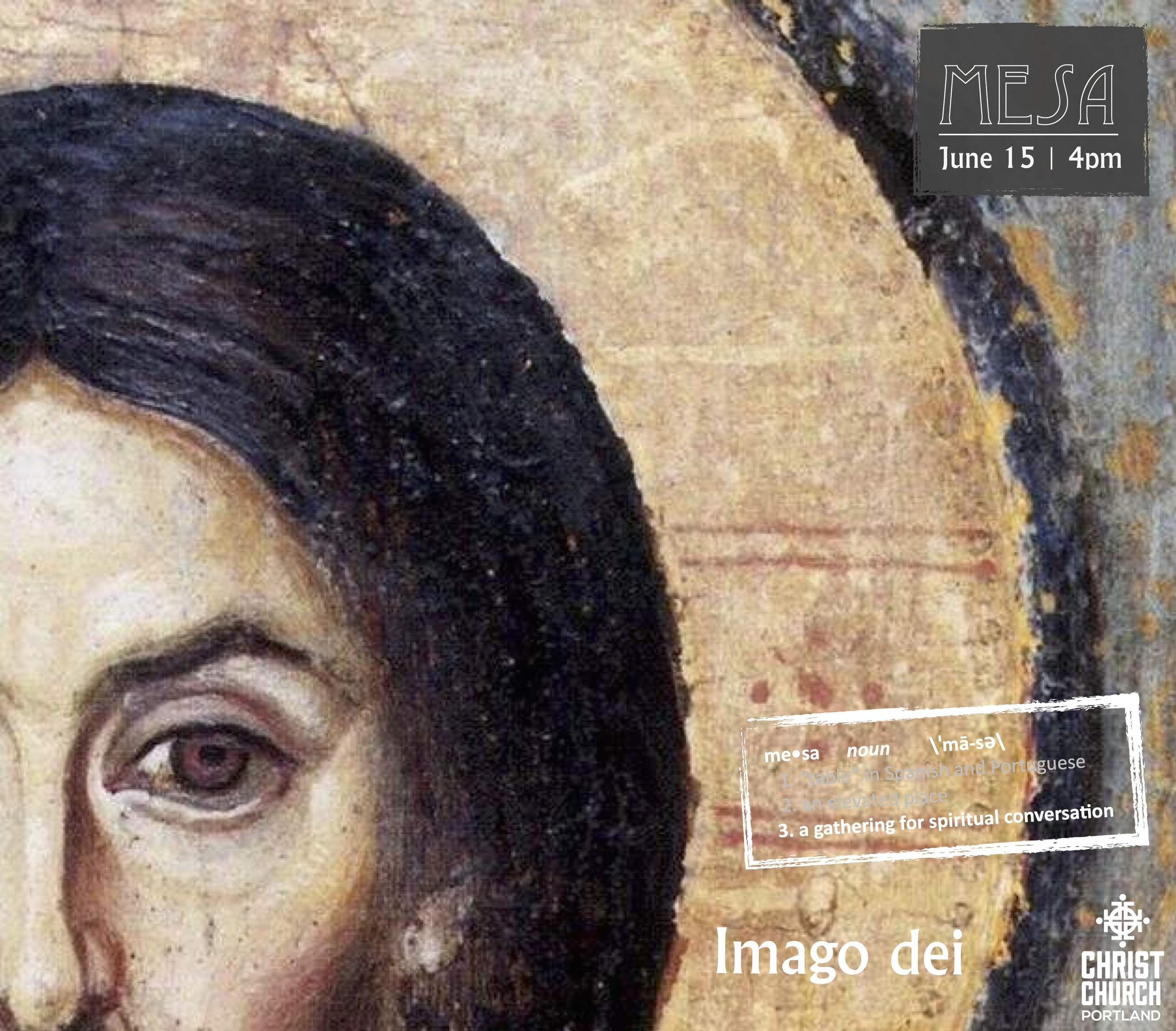 """artwork adapted from the 6th century icon """"Cristo Pantocrator"""" found at St. Catherine's monastery in Sinai, Egypt."""