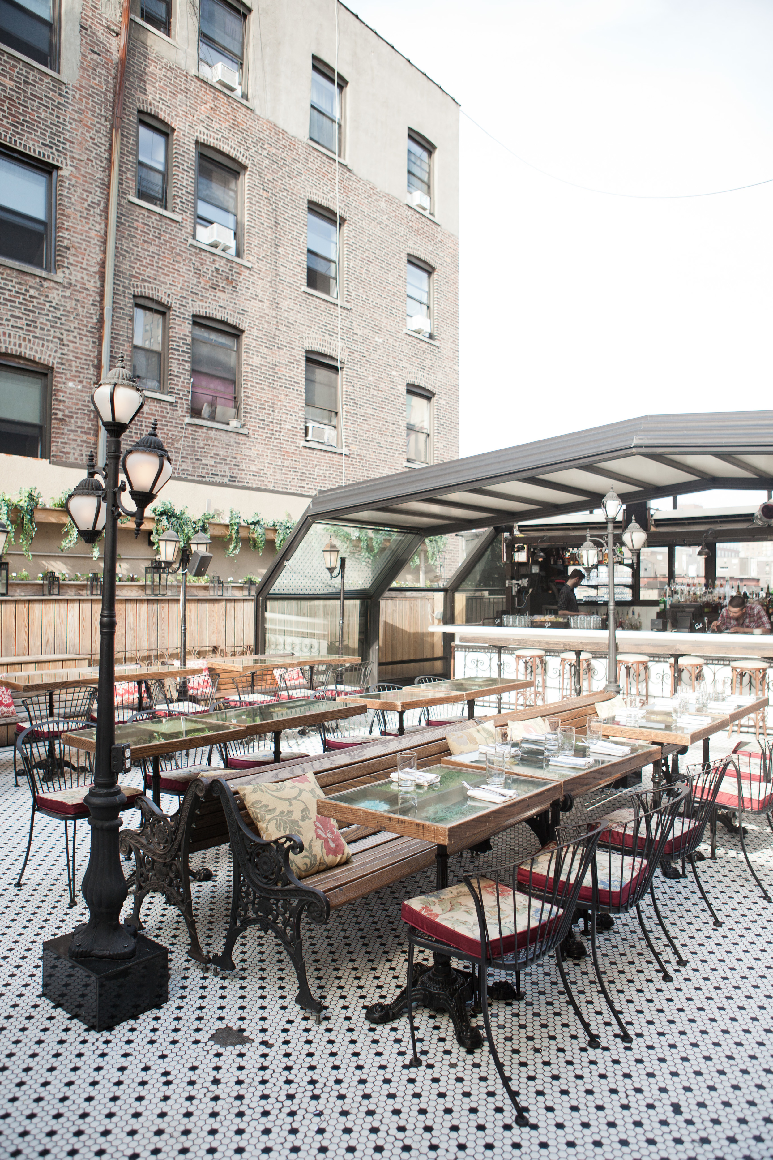 The lovely out door space at Hotel Chantelle.