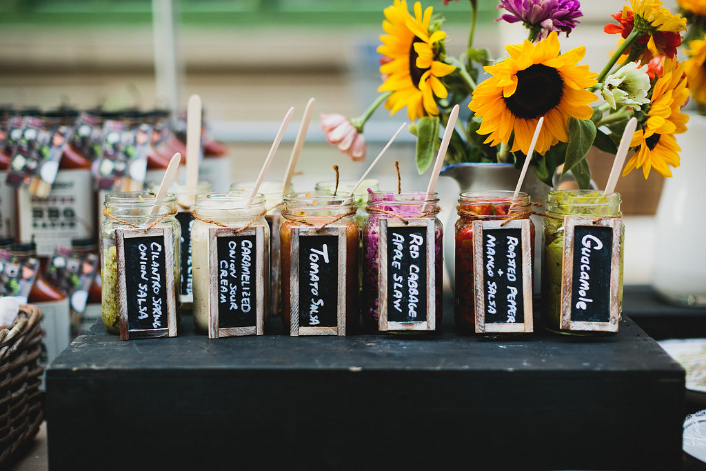 What taco bar is complete without lots of fun sauces?! Loved this assortment and display from SaucyByNature!