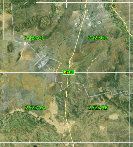 Google Earth overlay for easy reference. Each map is numbered according to a grid of numbers and letters.