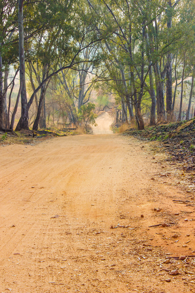 The dirt road turn-off to Mountain Sanctuary Park, Magaliesberg.