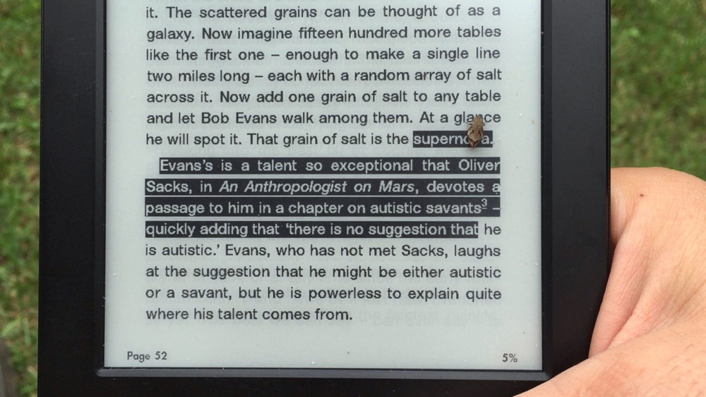 This little grasshopper felt it necessary to highlight a few important phrases on the kindle. Thanks little guy, noted