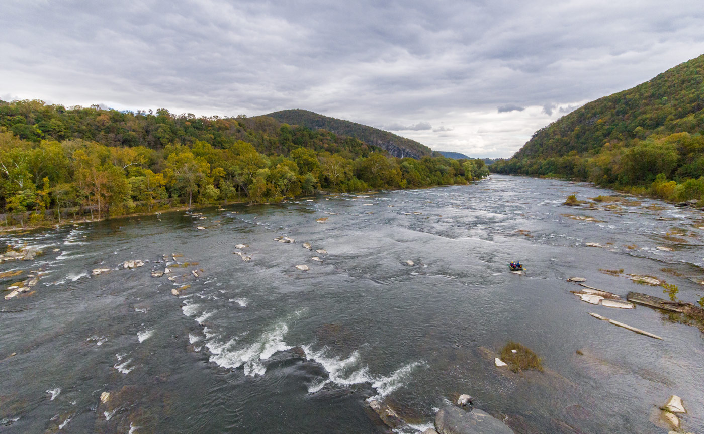 Two enormous rivers, the Shenandoah River (pictured here) and the Potomac River join up at the small trail town called Harpers Ferry.  Click to enlarge