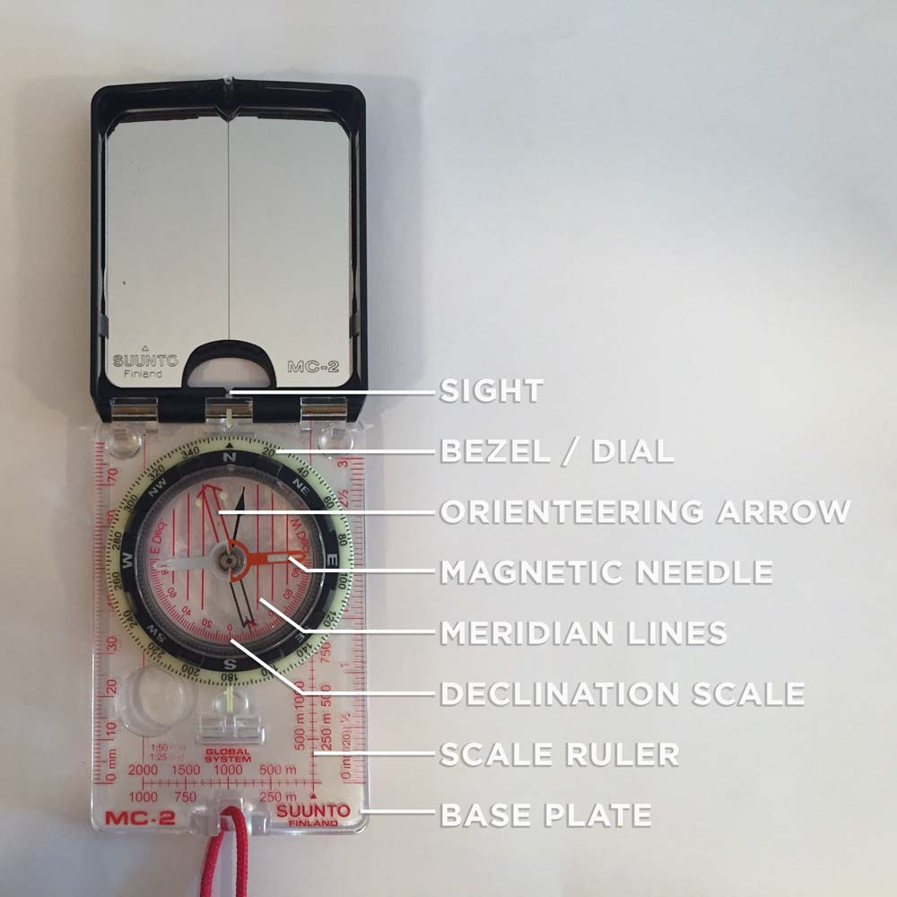 These are the essential features of a  mirror compass .   Look for these when purchasing a compass. Also consider purchasing a model with an adjustable declination scale.  (Click to enlarge)
