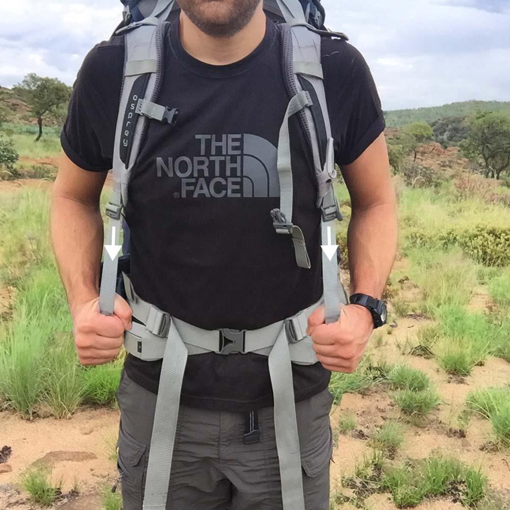 4. Shoulder straps    Tighten the shoulder straps by pulling the ends downwards, away from your shoulders.