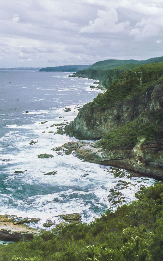 Some of the spectacular cliffs dropping into the ocean. This picture (slide) was taken on Henk & Ansie's hike in 1978.