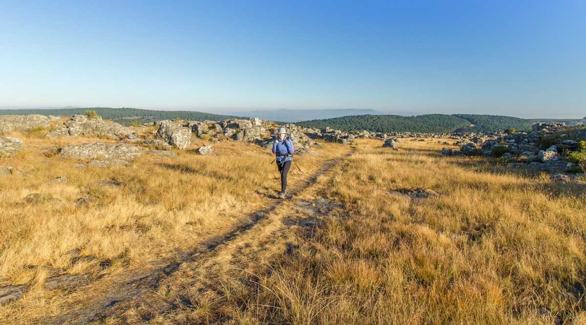 Hiking across the plateau towards the escarpment. Click to enlarge.