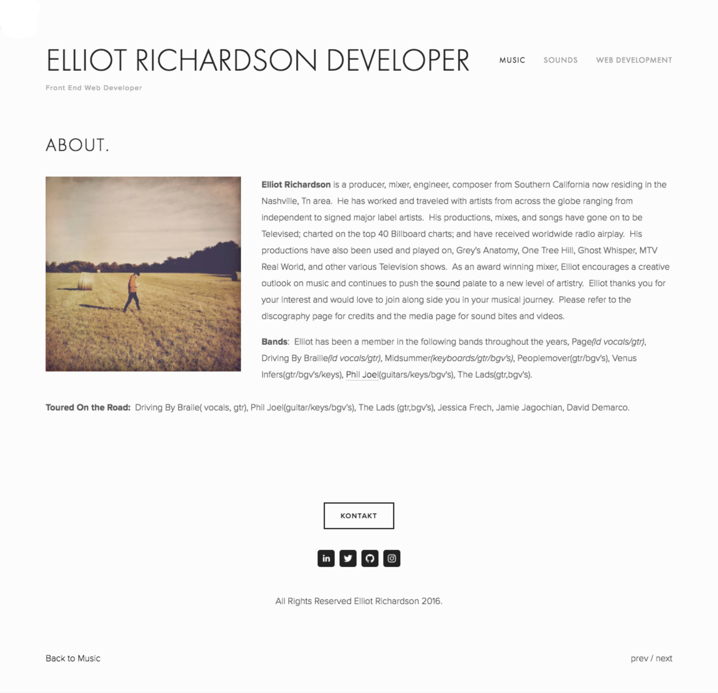 Elliot Richardson Music Site