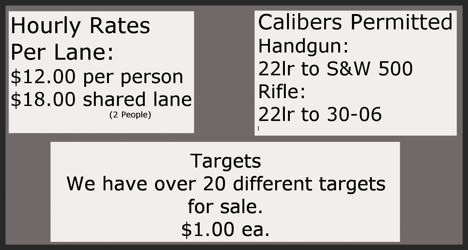 ****Shotguns or shot shells are NOT Allowed on the range.****       ****No AP or Tracers rounds****