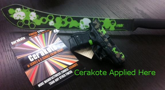 Machete: Battle worn effect with Hidden White, Zombie Green & Armor Black  Glock 27: Digital Camo with Zombie Green, Magpul FDE & Armor Black