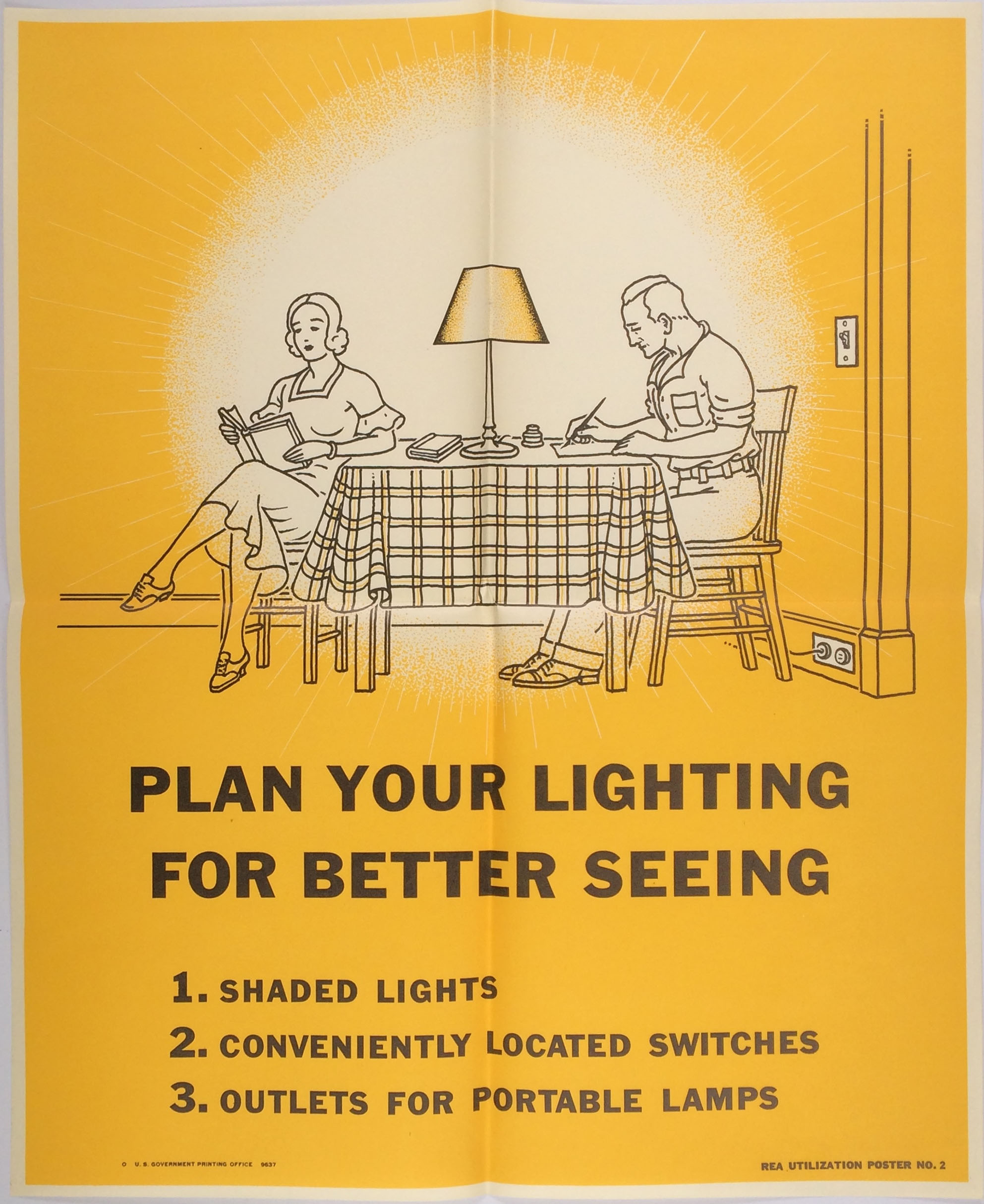 """Plan Your Lighting for Better Seeing,"" poster from First Steps in Load Building, Rural Electrification Administration, 1937. Office Files of Harlow S. Person, 1936–1953, Records of the Rural Electrification Administration, Record Group 221, National Archives Identifier 1872021, HMS ID A1 34."