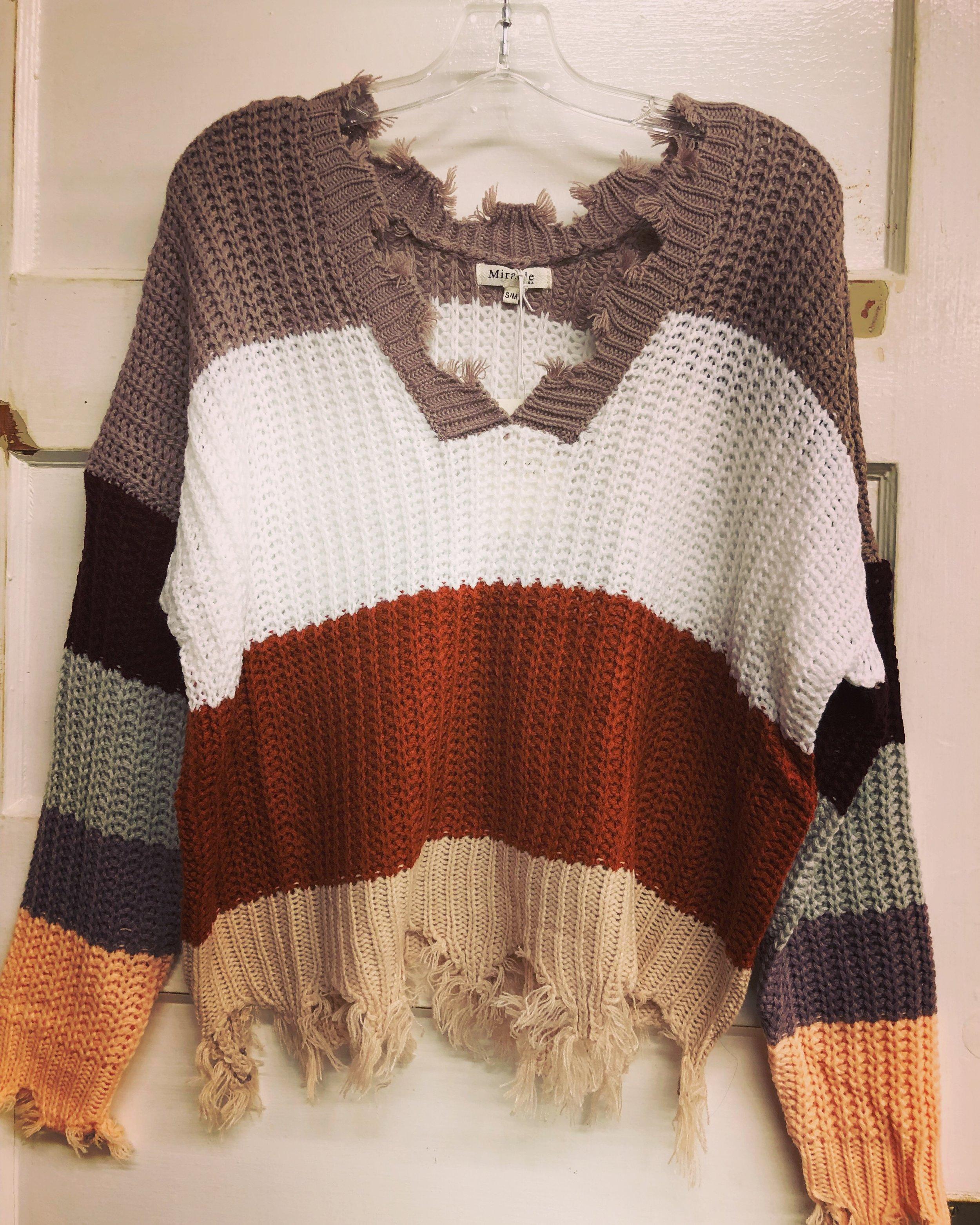Striped Fringe Sweater - S/M- $42