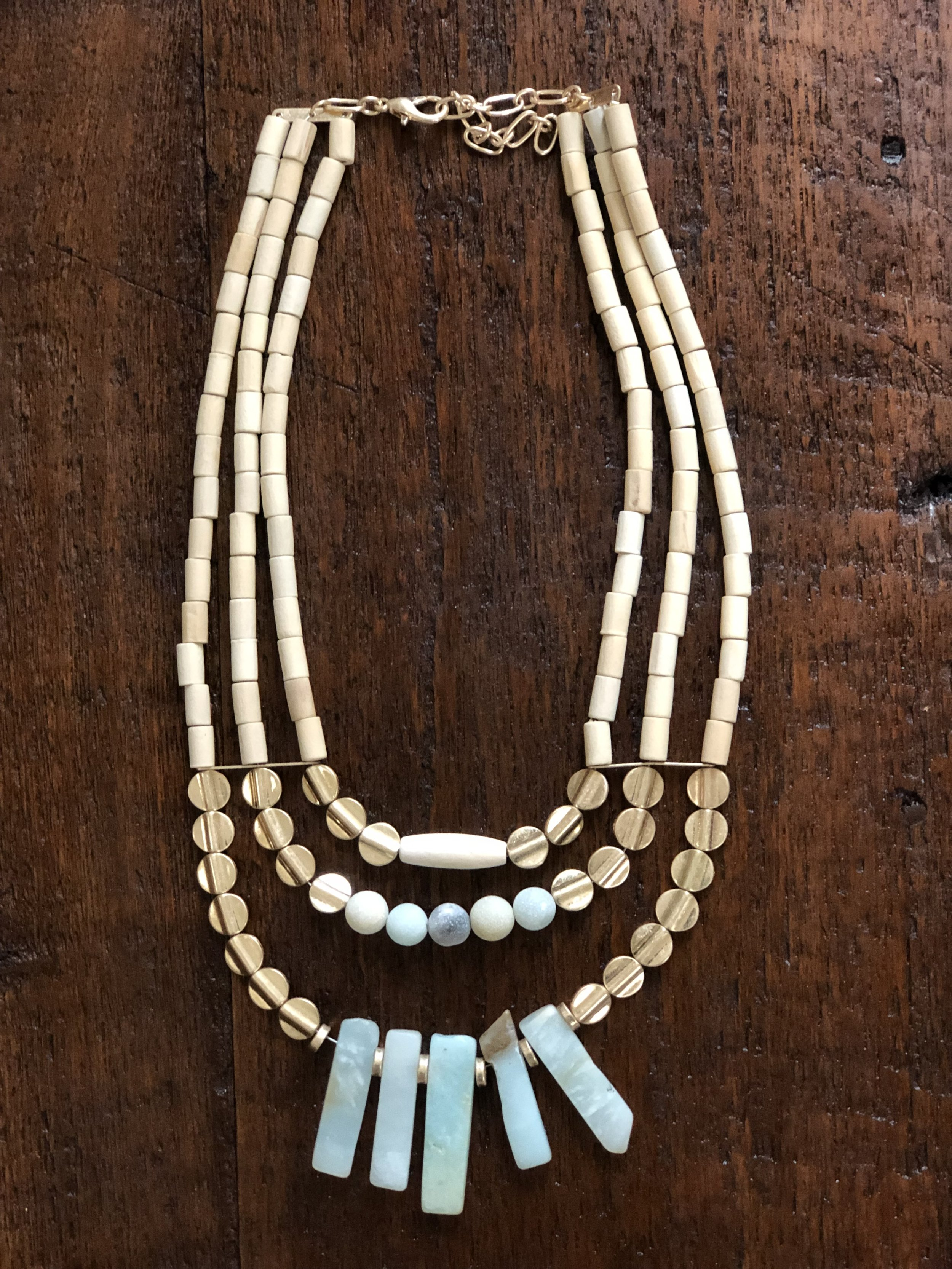 Beaded wood and stone necklace -$27.99