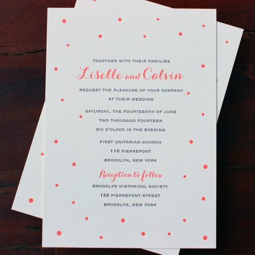 carolyna-script-confetti-dots-coral-letterpress-wedding-invitation-brooklyn