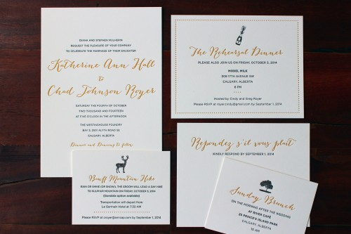 gold-black-script-calgary-letterpress-wedding-invite-suite