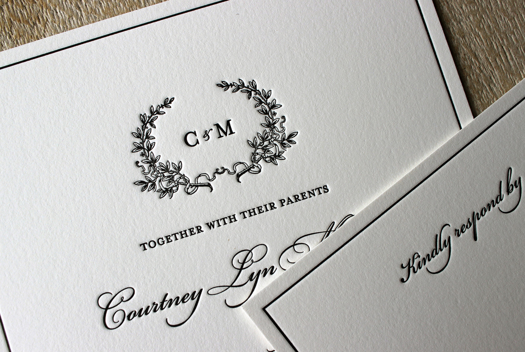 black-white-floral-wreath-flower-letterpress-wedding