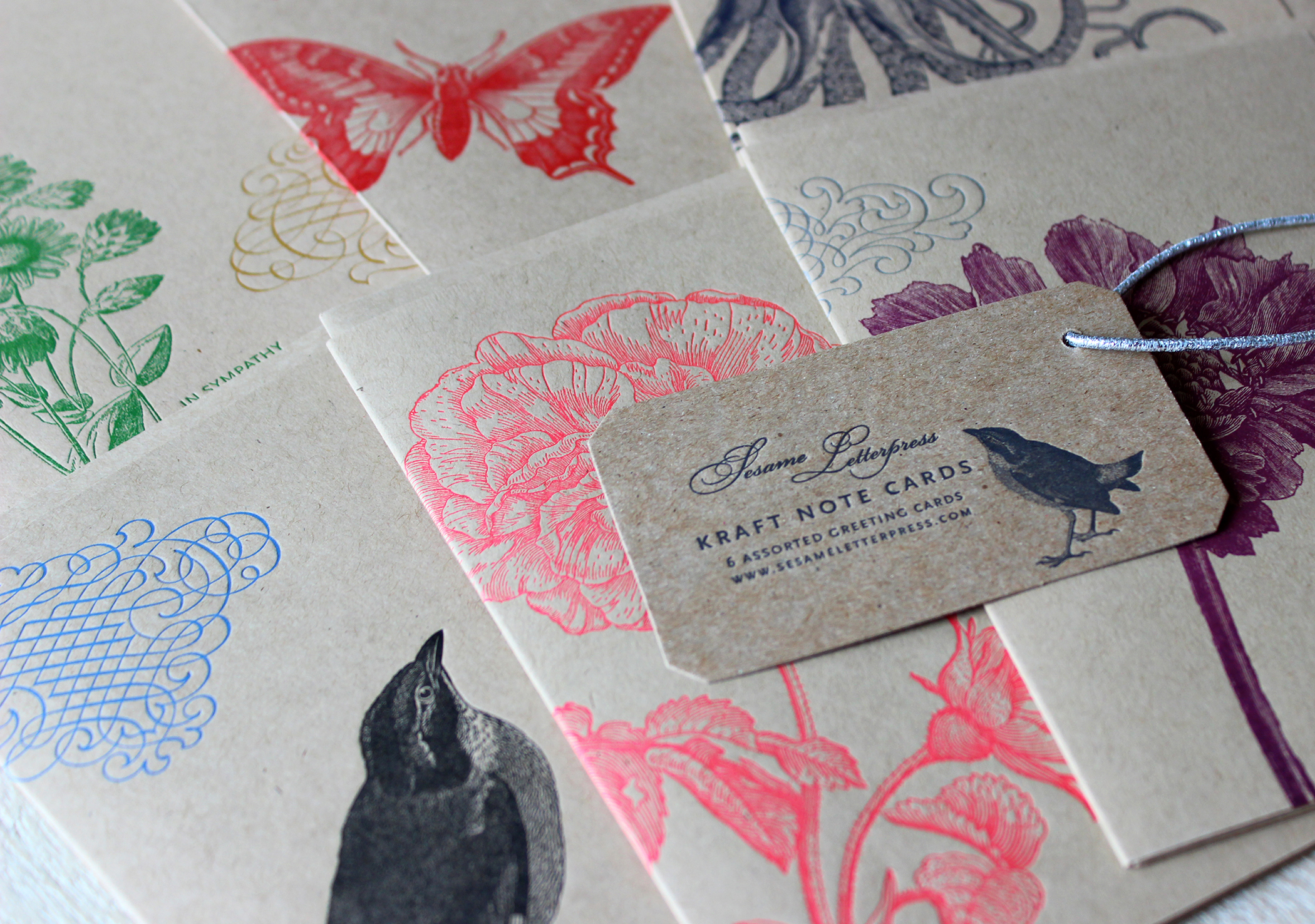 kraft-letterpress-cards-flora-fauna-floral-octopus