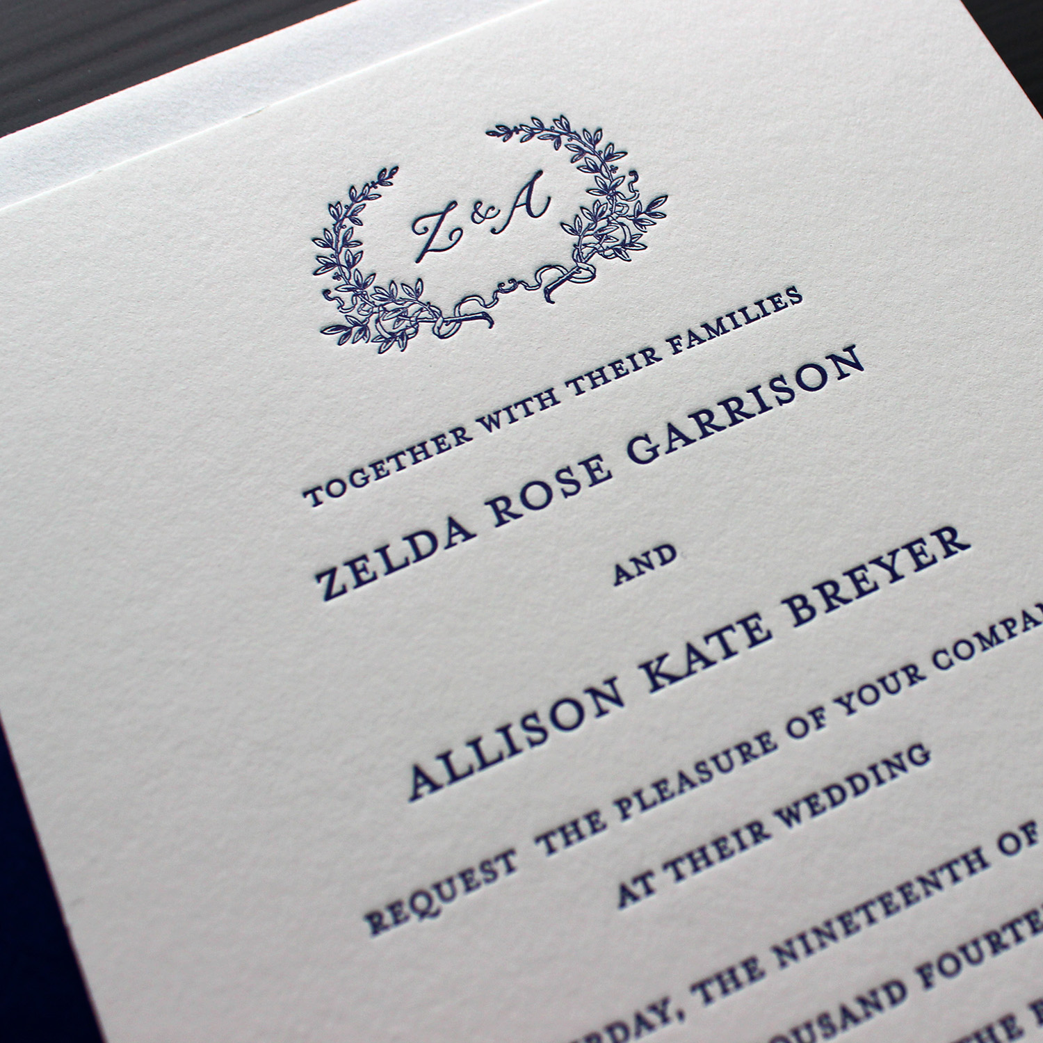 Romantic Laurel Wreath Letterpress Wedding Invitation