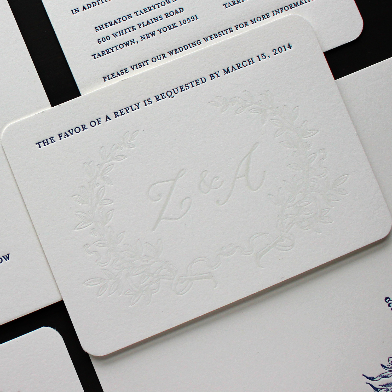 Romantic Laurel Wreath Letterpress Wedding RSVP