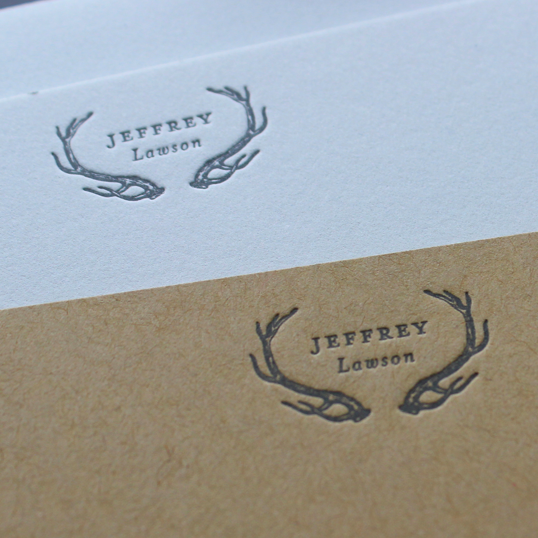 Letterpress Antler Stationery on Kraft