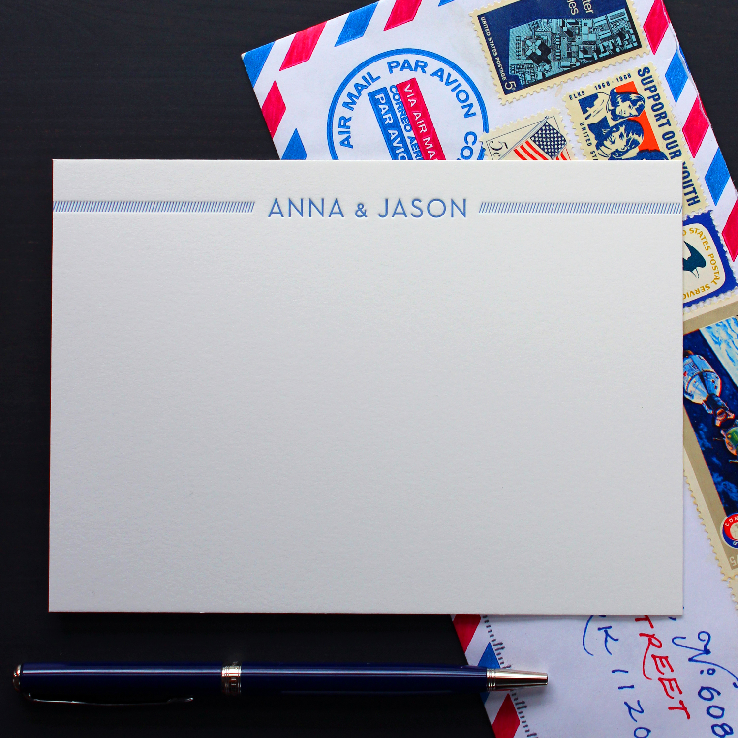 Airmail Modern Letterpress Stationery