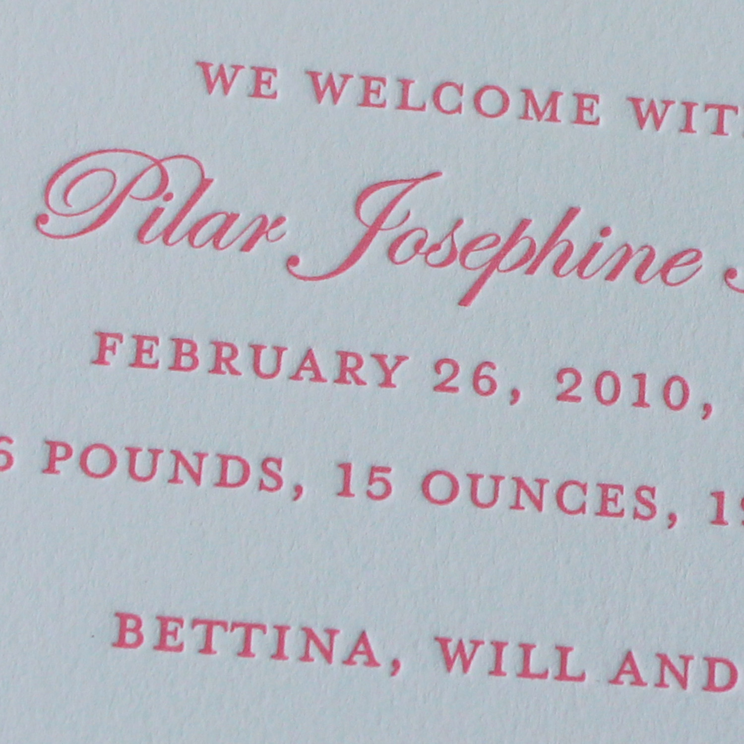 Pink Edwardian Script Letterpress Baby Announcement