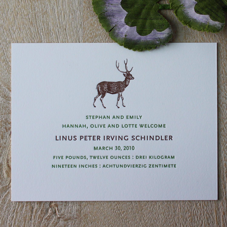 Deer Letterpress Baby Announcement