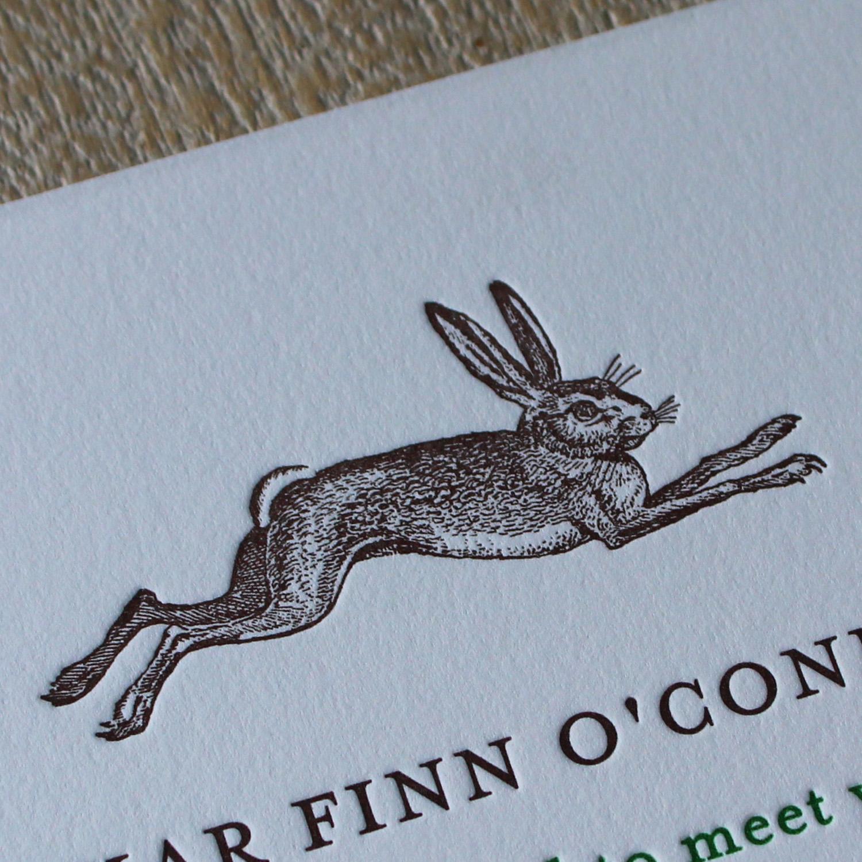 Rabbit Letterpress Baby Announcement