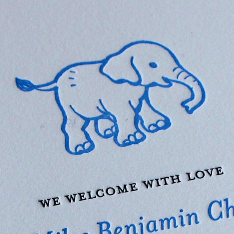 Blue Elephant Letterpress Baby Announcement