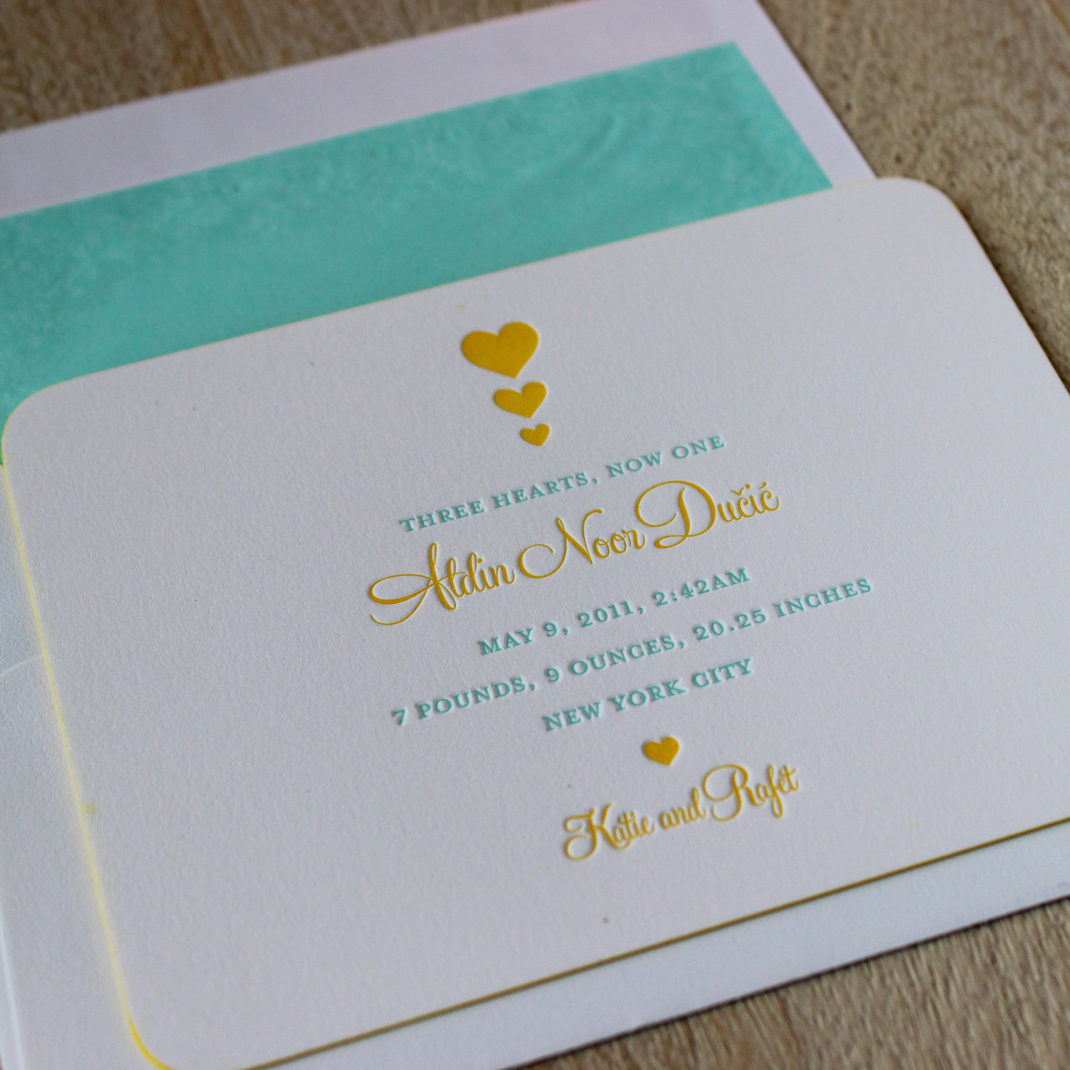 Yellow Hearts Letterpress Baby Announcement
