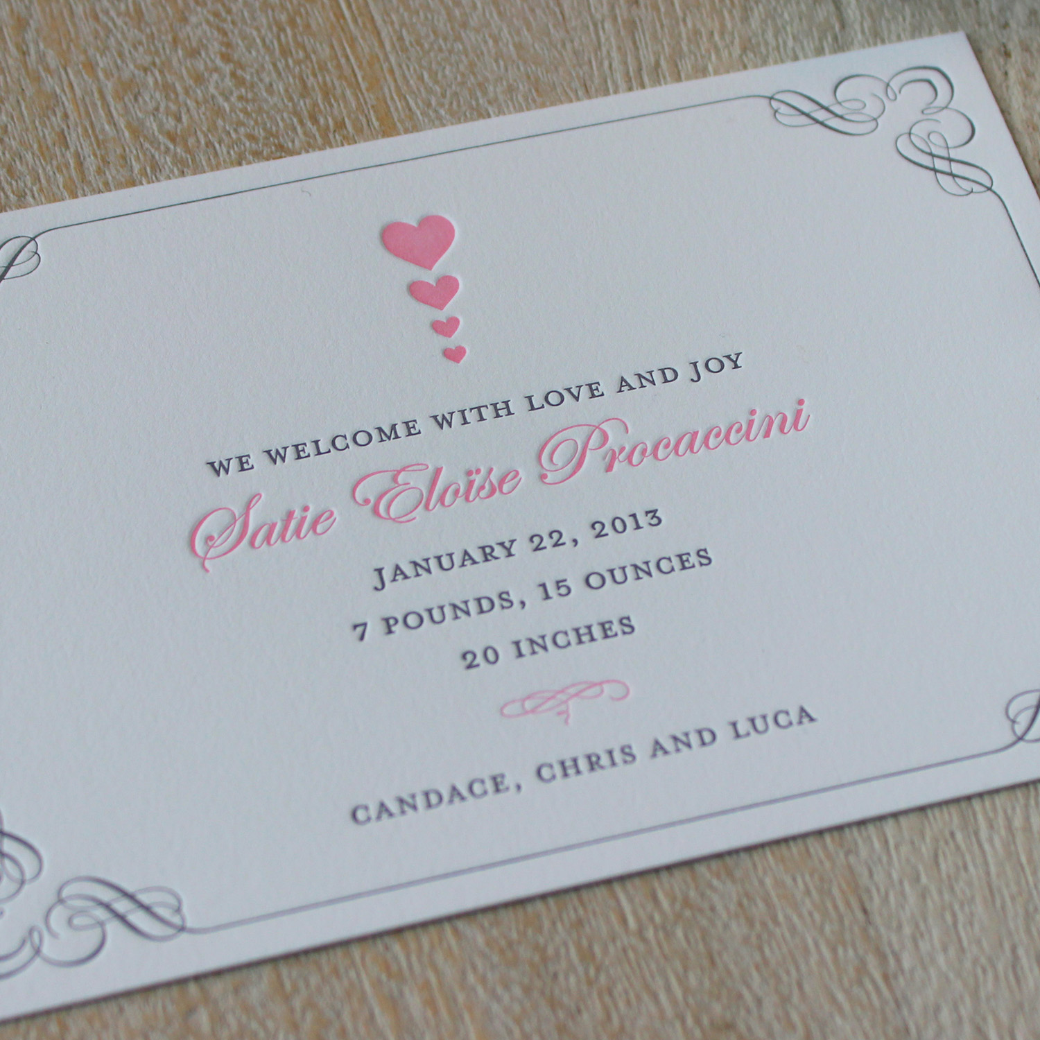 Pink Hearts Letterpress Baby Announcement
