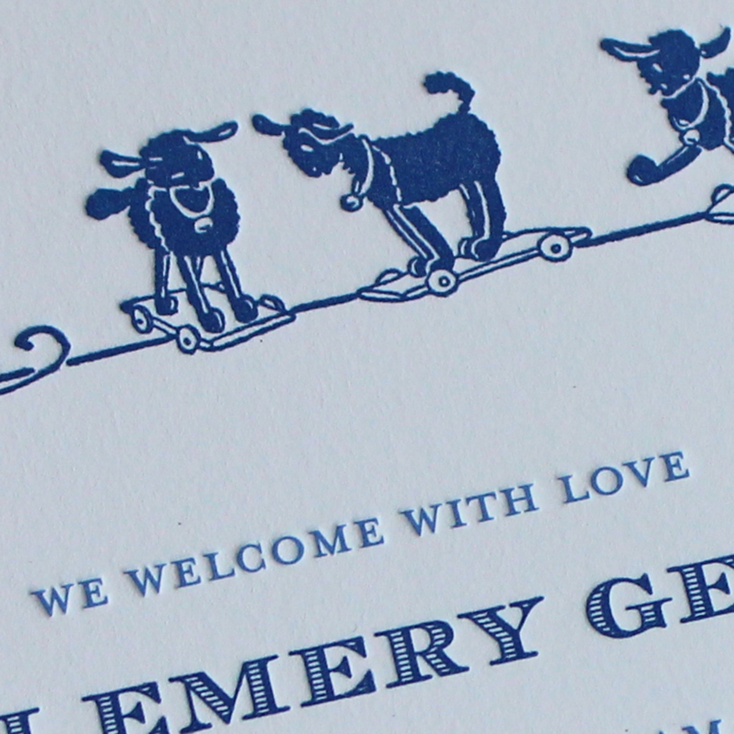 Blue Lambs Letterpress Baby Announcement