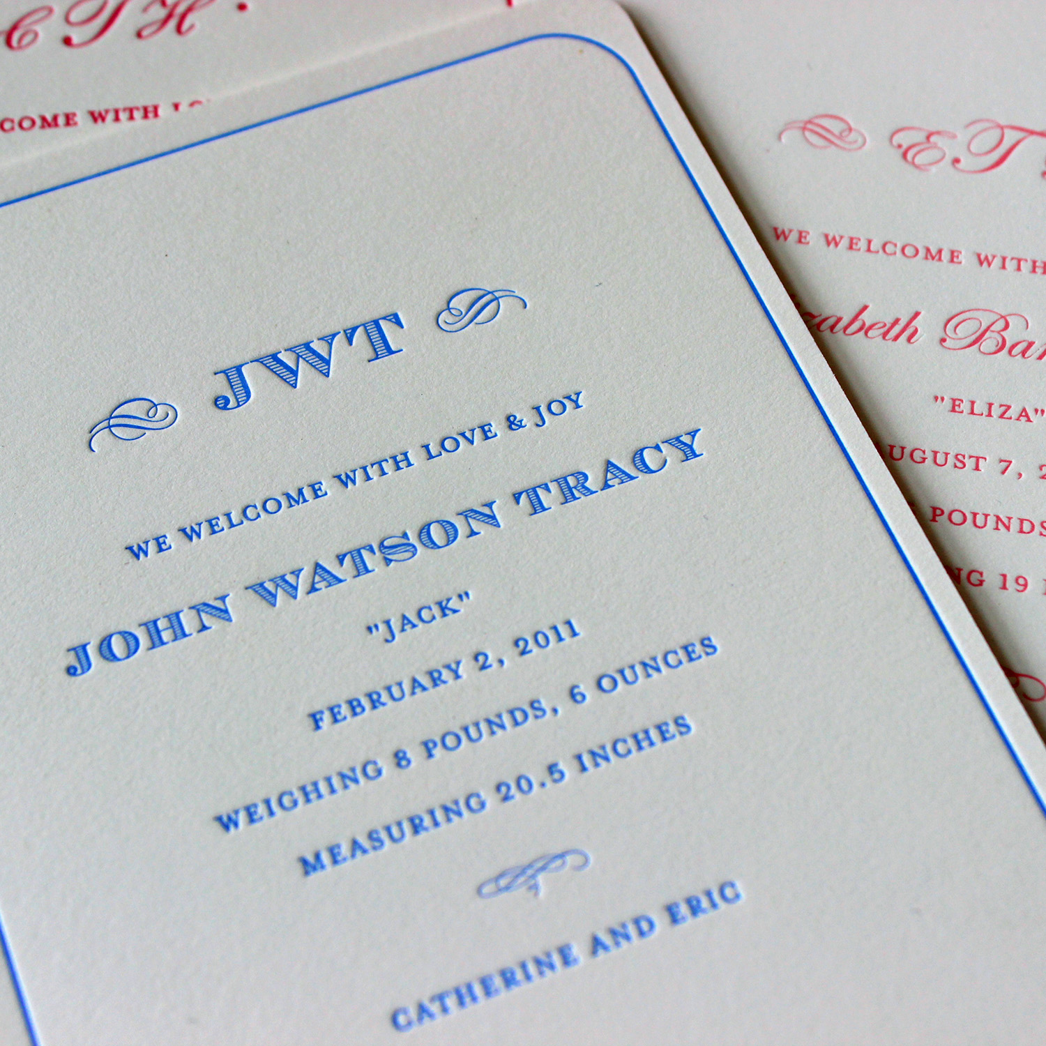 Classic Monogram Letterpress Baby Announcement