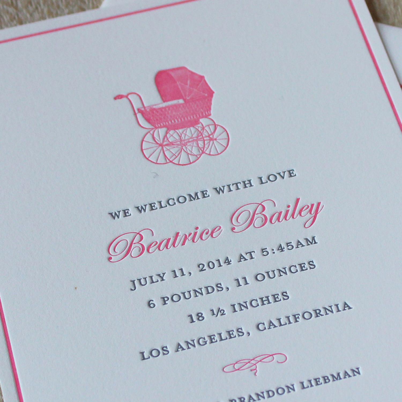 Pink Pram Letterpress Baby Announcement