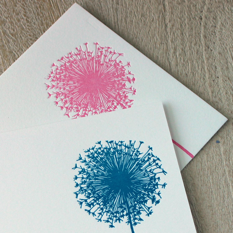 Pink and Blue Dandelion Letterpress Baby Announcement