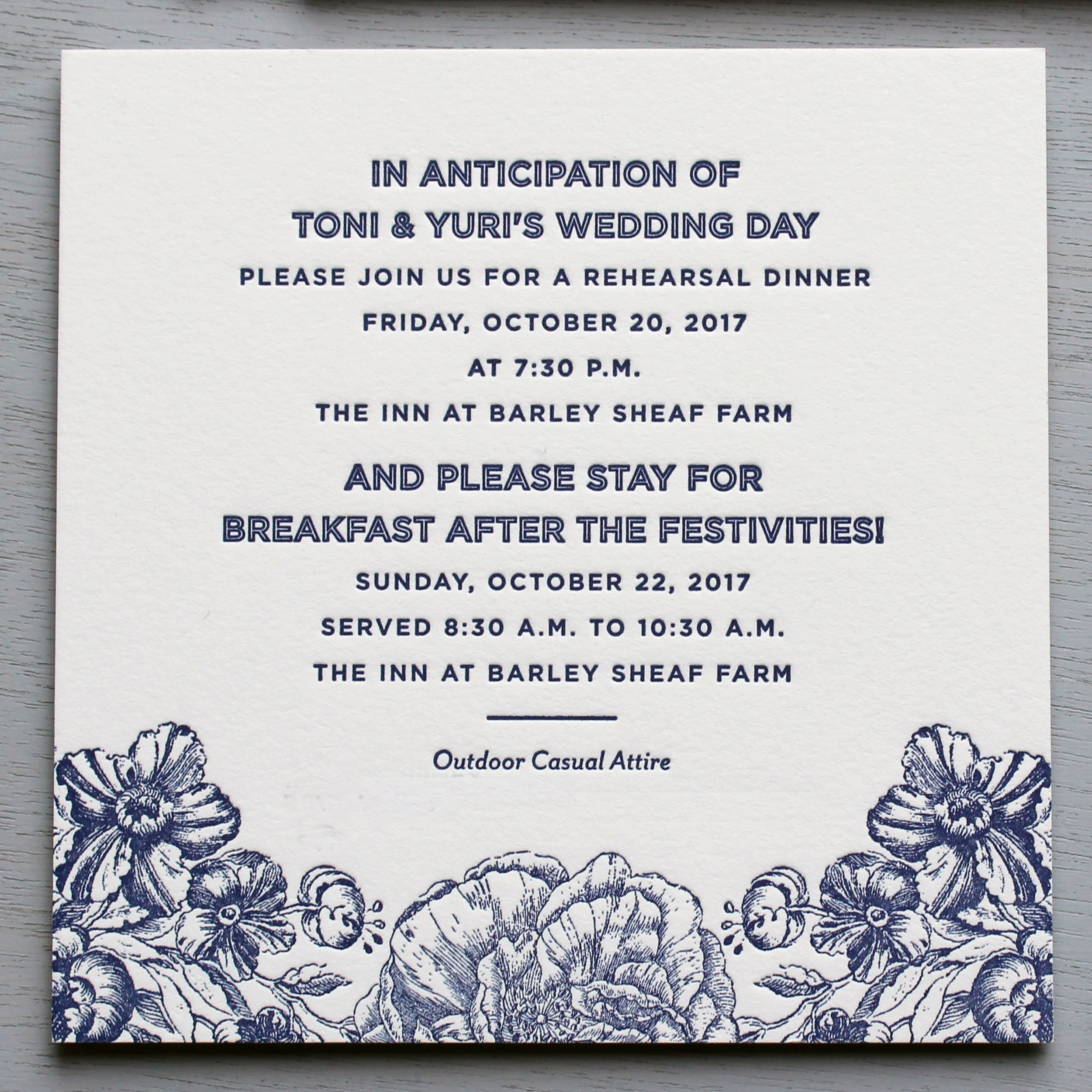 Rehearsal Dinner & Farewell Brunch Card