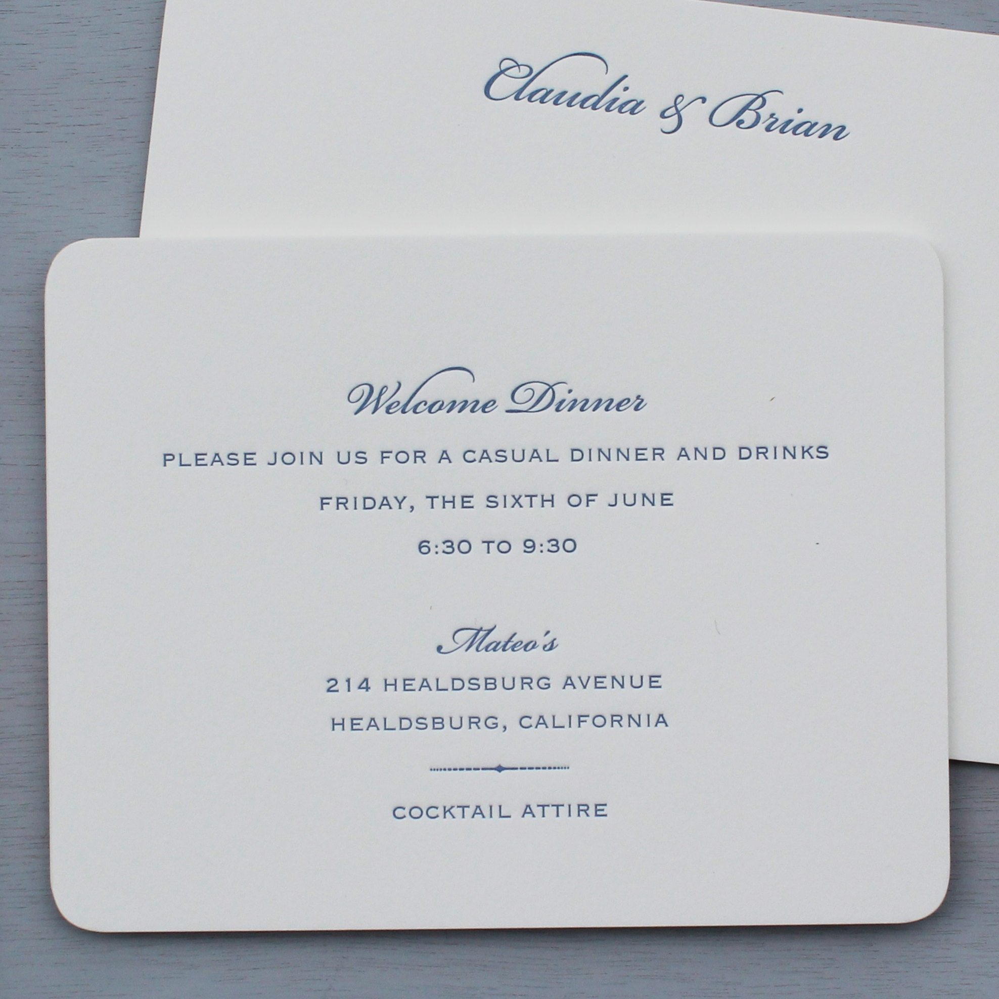 Welcome Dinner Card