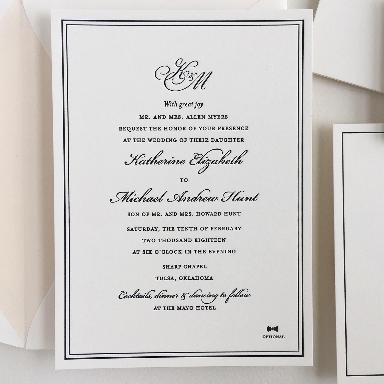 Letterpress Monogram Invitation