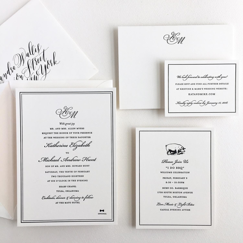 Letterpress wedding suite with custom monogram