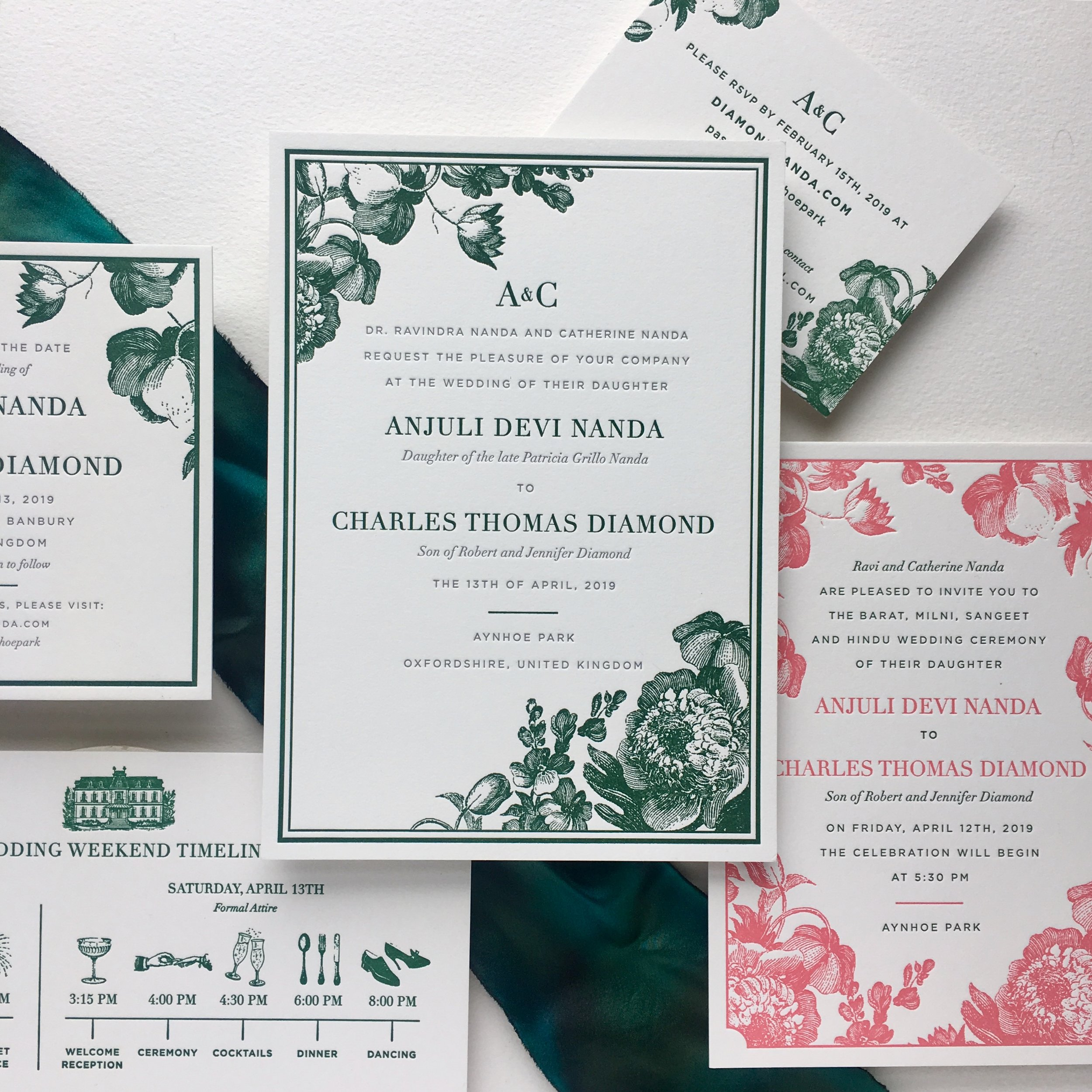 Wedding on Vogue.com - We worked with a great couple on the invitations for their Indian & English wedding in the Cotswolds this year. The final design was gorgeous, with jewel toned colors and beautiful floral elements. They were recently featured on Vogue.com and the photos from their nuptials are absolutely stunning! Its always a treat to see pictures from a wedding, after collaborating with a couple on their invitations.