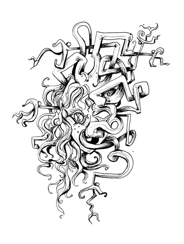 12.13.13  > Deception > Mendacity > 8.5x11 inch Pen Drawing on paper > CLICK IMAGE TO PURCHASE