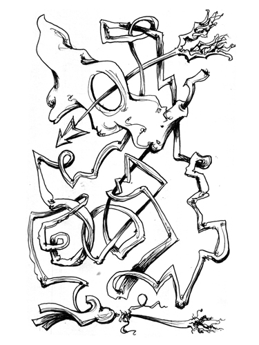 6.7.13  > White Flag > Survival > 5.5x8.5 inch Pen Drawing on paper > CLICK IMAGE TO PURCHASE