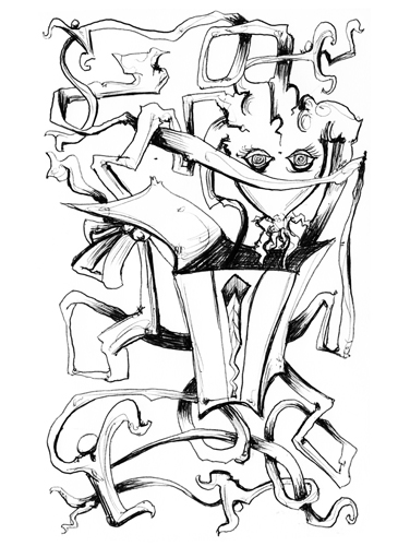 6.12.13  > Medusa Reception > In Giving > 5.5x8.5 inch Pen Drawing on paper > CLICK IMAGE TO PURCHASE
