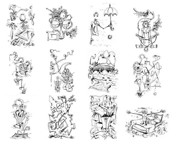 6.19.13  > Revival Sur­vival In Giv­ing For Liv­ing > 12 piece 5.5 x 8.5 inch Pen Draw­ing series on paper > CLICK IMAGE TO PURCHASE