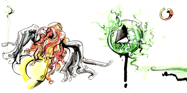 5.10.13  >   Rocketship > Paintbrush Songs   > 12x6 inch India Ink and Watercolor on paper > CLICK IMAGE TO PURCHASE
