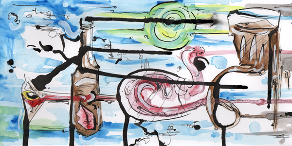 5.22.13  > The Other Planet   > Paintbrush Songs   > 12x6 inch India Ink and Watercolor on paper > CLICK IMAGE TO PURCHASE