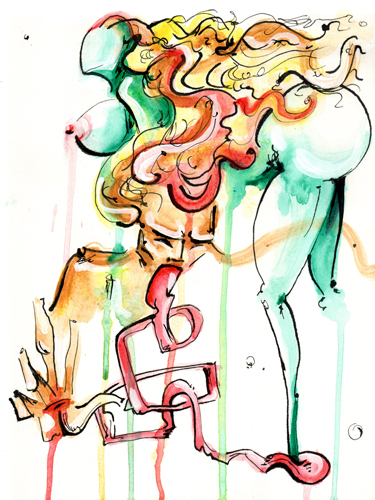 4.24.13  > Venice Queen > 8.5x11 inch India Ink and Watercolor on paper > CLICK IMAGE TO PURCHASE