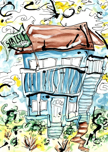 2.19.13  > Sea Isle Smile > 8.5x11 inch India Ink and Watercolor on paper > CLICK IMAGE TO PURCHASE