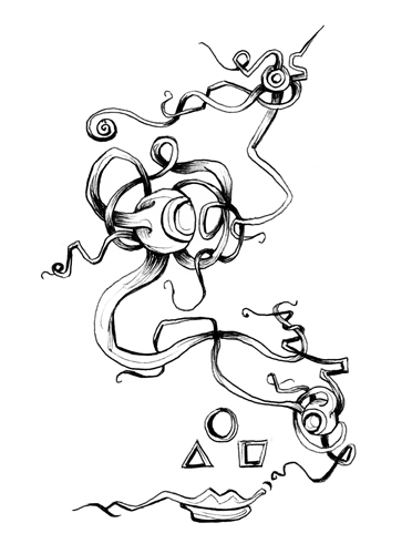 3.5.14  > All Three Eyes > 5x8 inch Pen Drawing on paper > CLICK IMAGE TO PURCHASE